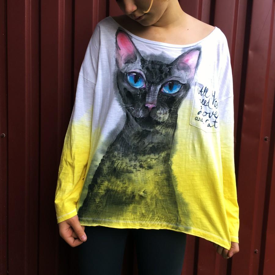 Ilgarankoviai marškinėliai ALL YOU NEED IS LOVE AND CAT. (L dydis)